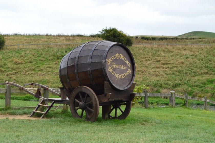 A beer barrel cart in the Hobbiton Movie Set, New Zealand