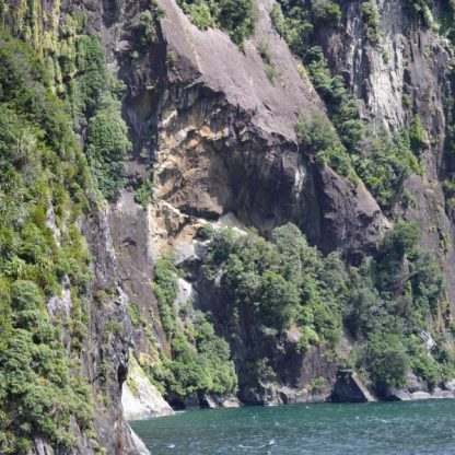 A steep cliff near Copper Point in Milford Sound, New Zealand