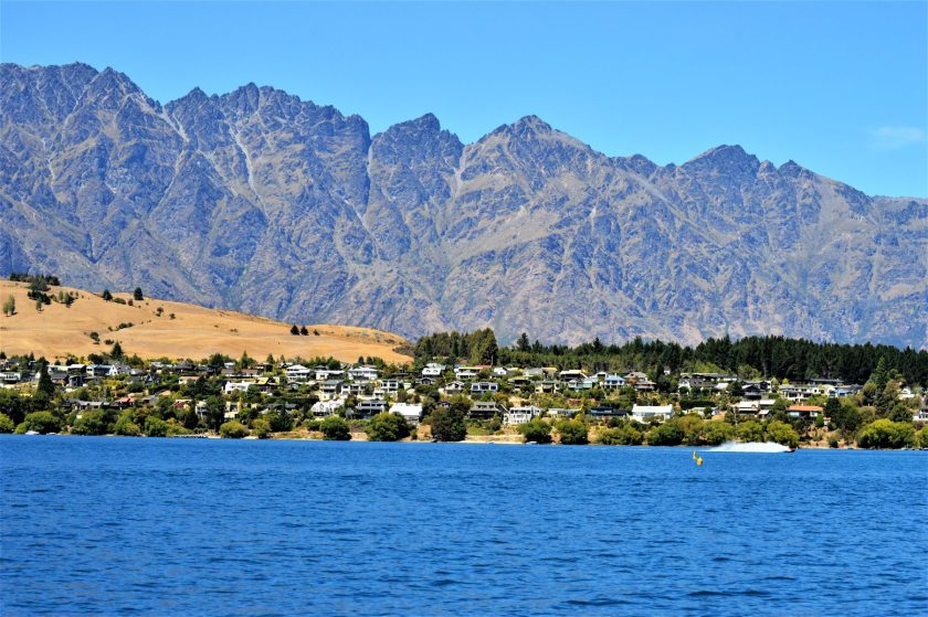 A view of The Remarkables from the Frankton Arm of Lake Wakatipu in the South Island of New Zealand