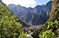 Town of Aguas Calientes in the valley below the Machu Picchu site