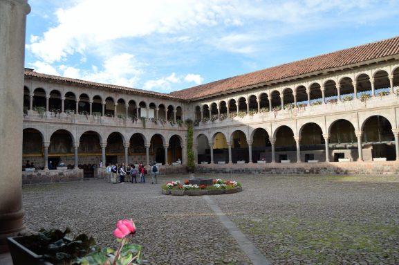 Convent of Santo Domingo with the Qorikancha ruins inside located in Cuzco, Peru