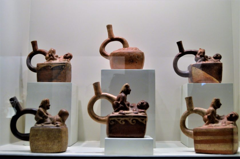Moche human erotic pottery on display at Museo Larco in Lima, Peru