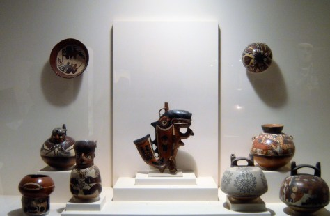 Nazca whale and pottery on display at Museo Larco