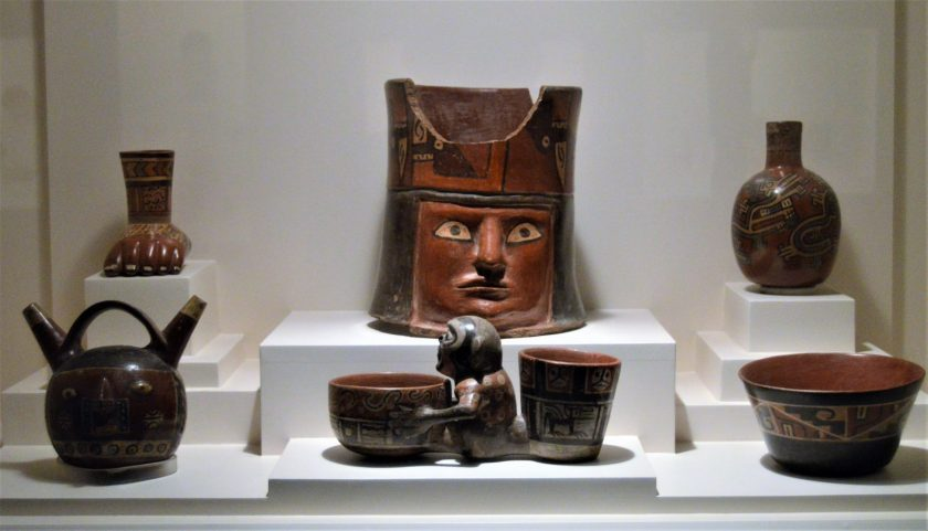 Wari pottery on display at Museo Larco in Lima, Peru