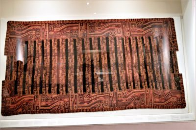 Textile from the Paracas culture on display at Museo Larco in Lima, Peru