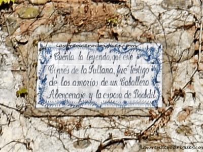 Plaque describing the Abencerrajes legend in the Patio de la Sultana (Sultana's Court) in the Generalife Palace, Granda, Spain