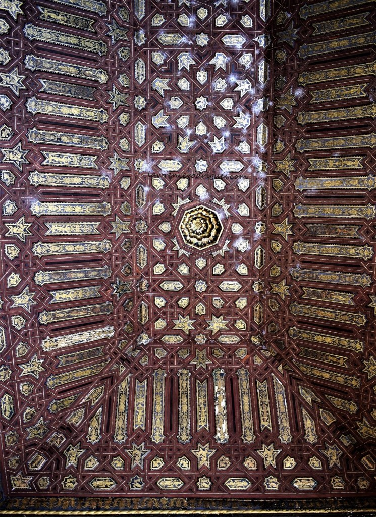 Ceiling of the Gilded Room in the Nasrid Palaces located in the Alhambra, Granada, Spain