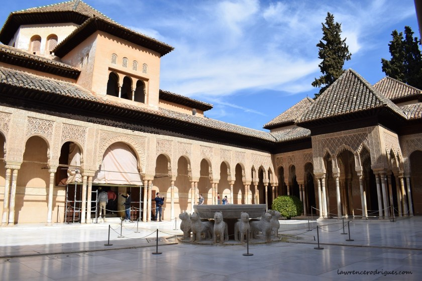 Court of the Lions located inside the Nasrid Palacesin in Alhambra, Granada, Spain