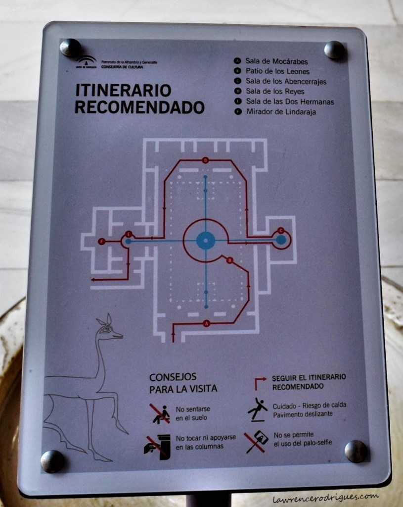 Map of the Palace of the Lions on display inside the Nasrid Palaces in the Alhambra, Granada, Spain