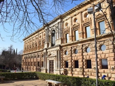 The south facade of Palacio Carlos V (Charles V Palace) in the Alhambra, Granada, Spain