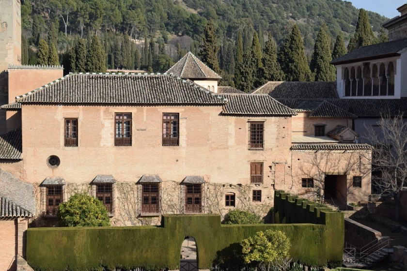 An external view of the Nasrid Palaces located at Alhambra in Granada, Spain