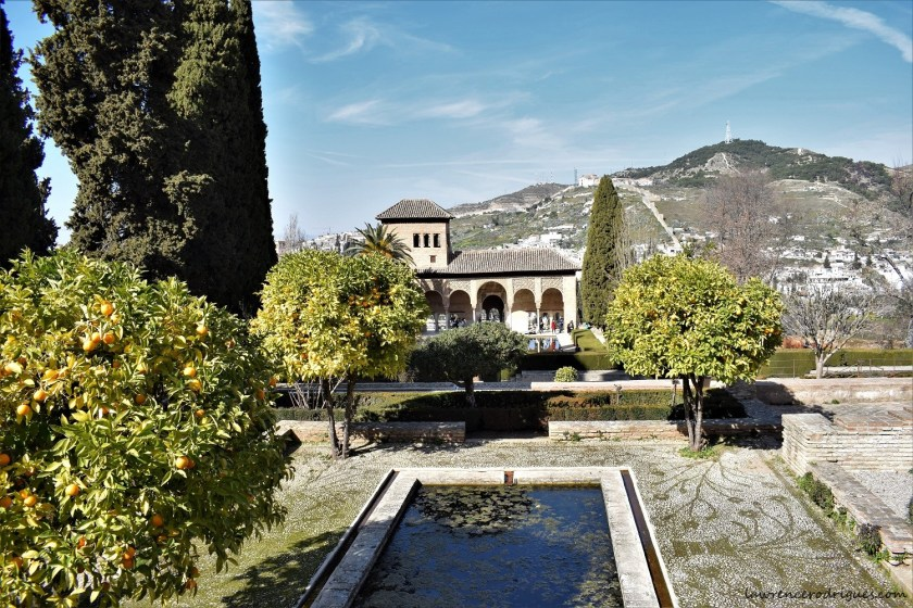 A north side view of the Gardens of the Partal in Granada, Spain