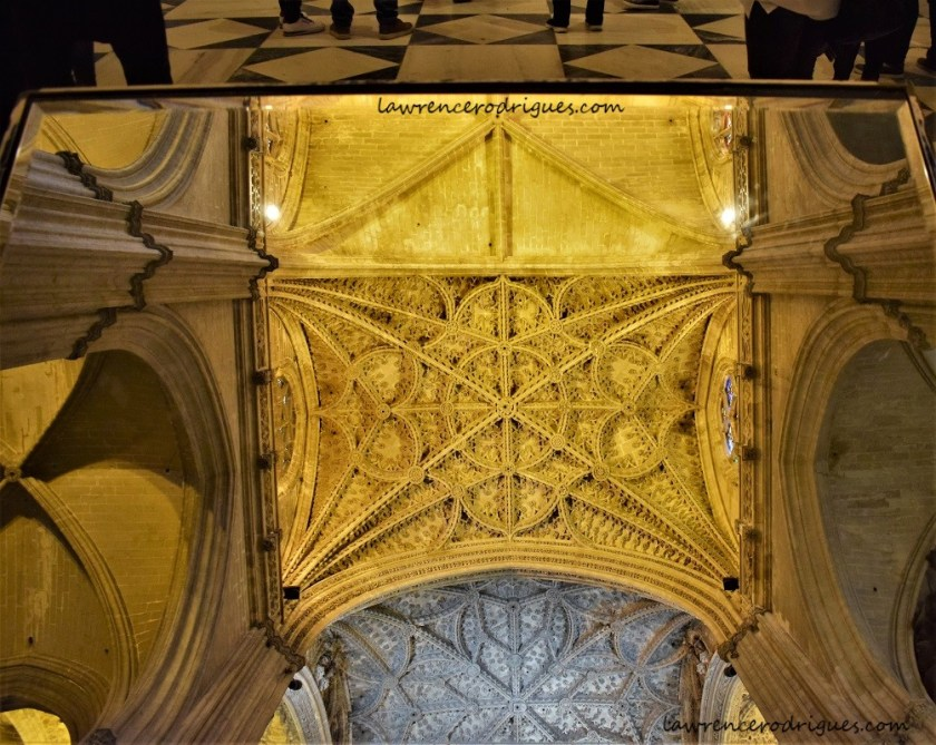 A view of ceiling of the Seville Cathedral, Spain