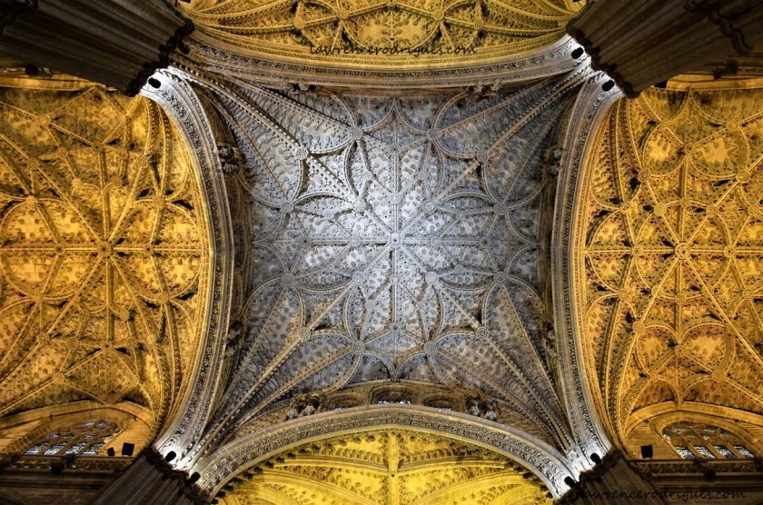 A view of the ceiling of the Seville Cathedral, Spain