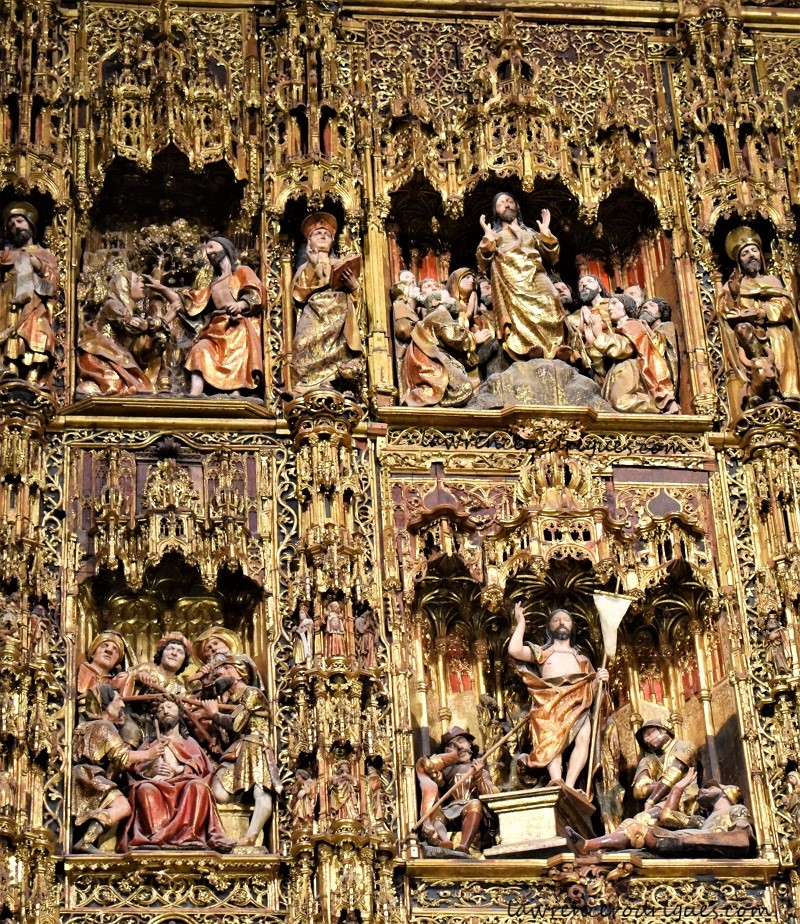 Reliefs of the altarpiece of the main chapel of the Seville Cathedral, Spain