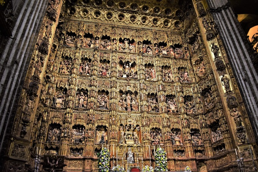 Altarpiece of the main chapel of the Seville Cathedral in Spain