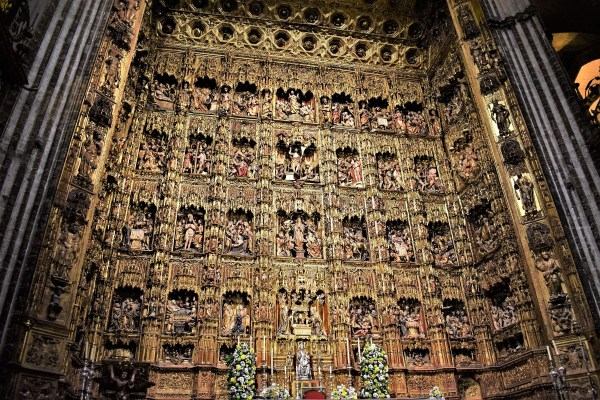 Altarpiece at the main chapel of the Seville Cathedral in Spain