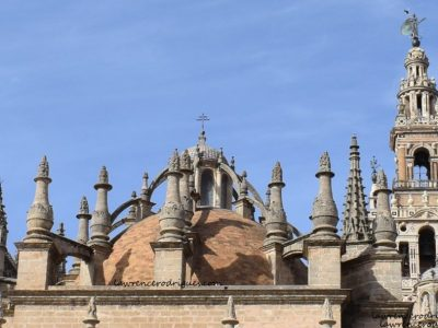 An external view of the dome of the Sacristía Mayor (Main Sacristy) attached to the Seville Cathedral in Andalusia, Spain