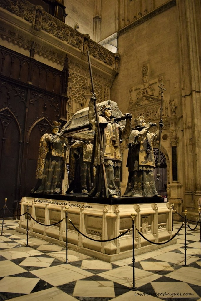 Tomb of Christopher Columbus situated in the south transept of the Seville Cathedral n Spain