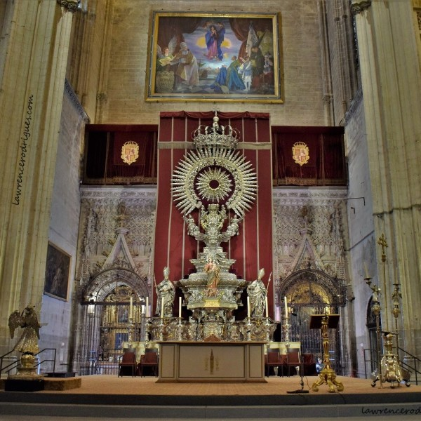 Silver Altar in the north transept of the Seville Cathedral in Spain
