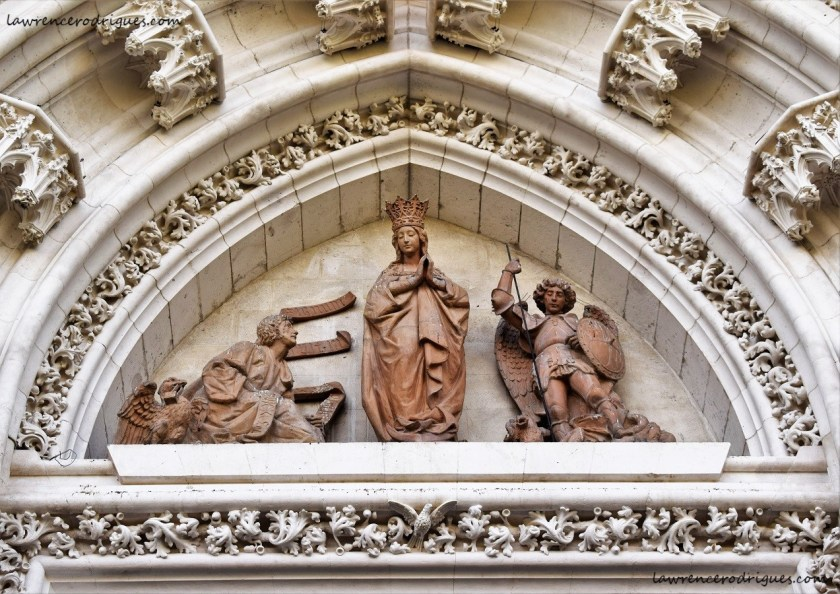 Tympanum of the Door of the Conception on the North Facade of the Seville Cathedral in Spain