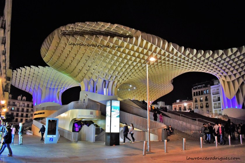 A street level view at night of Las Setas, located on the La Encarnación square in Seville, Andalusia, Spain
