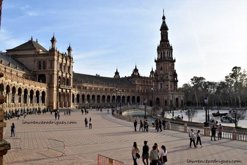 South wing of the Plaza de España in Seville, Spain