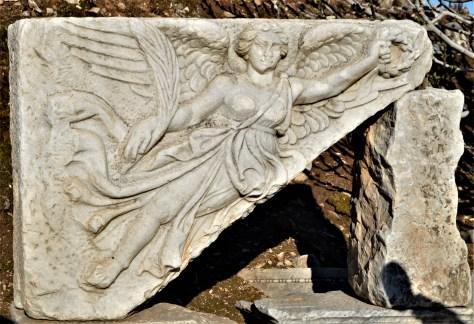 Carving of Goddess Nike in Ephesus, Turkey