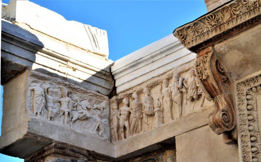 A frieze in the Hadrian Temple in Ephesus, Turkey