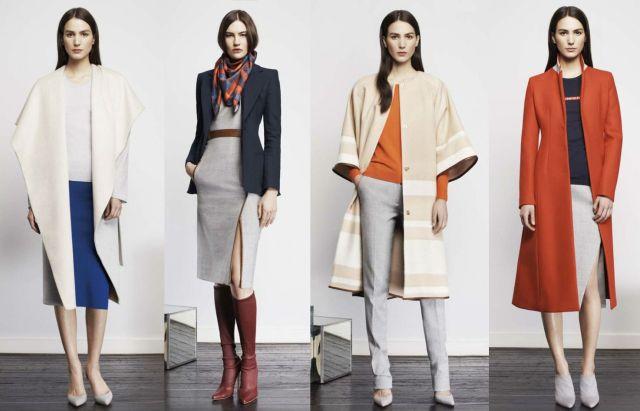 На фото: строгие юбки с блузами, строгое платьес поясом и строгие брюки с блузой.