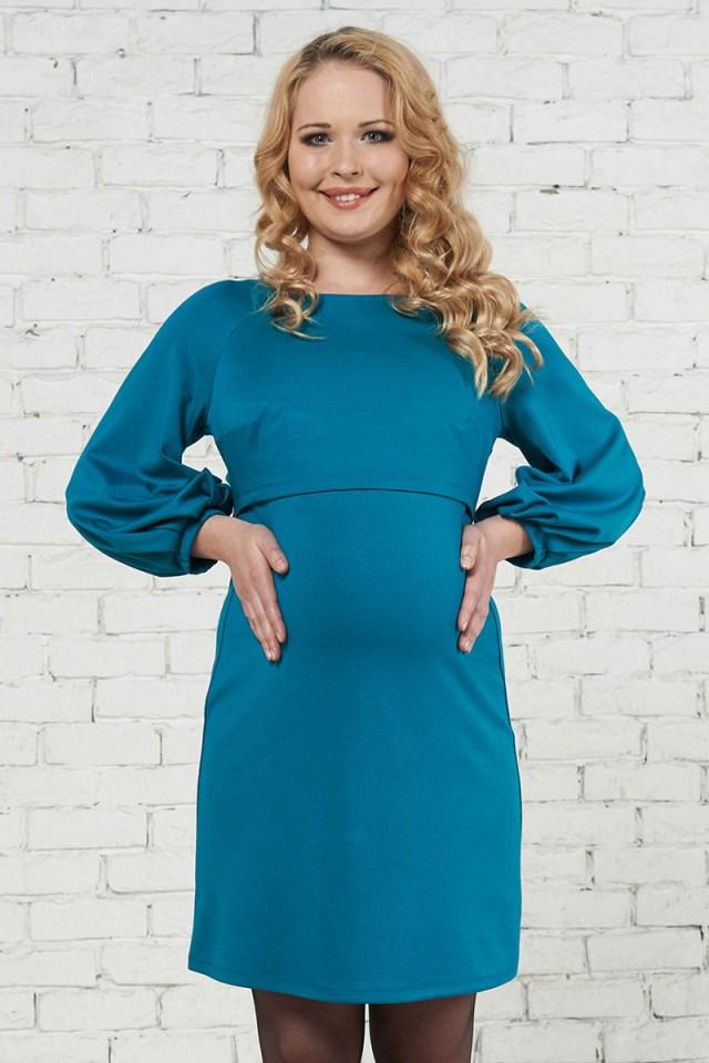 Голубое милое платье для беременных - фото новинки и тренды сезона