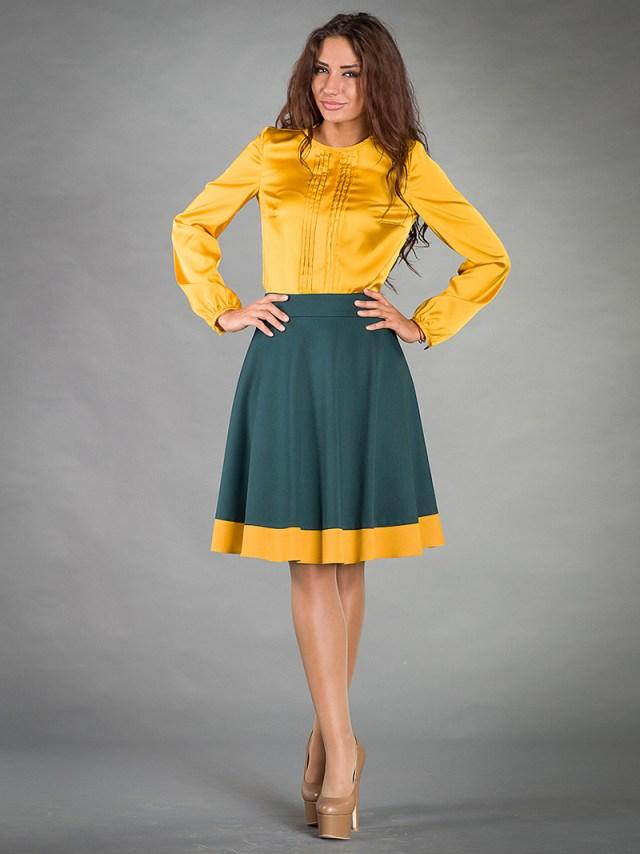 Фото: зеленая юбка полусолнце с желтой рубашкой