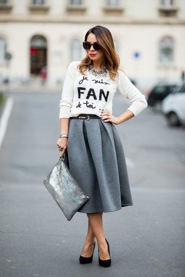 Серая юбка полусолнце с свитшотом