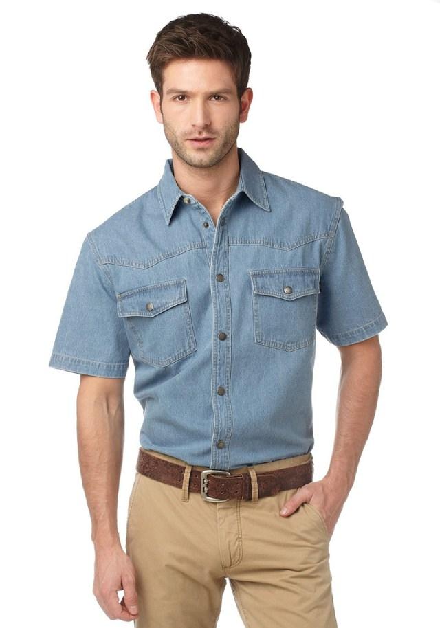 Модная мужская джинсовая рубашка – фото новинки сезона