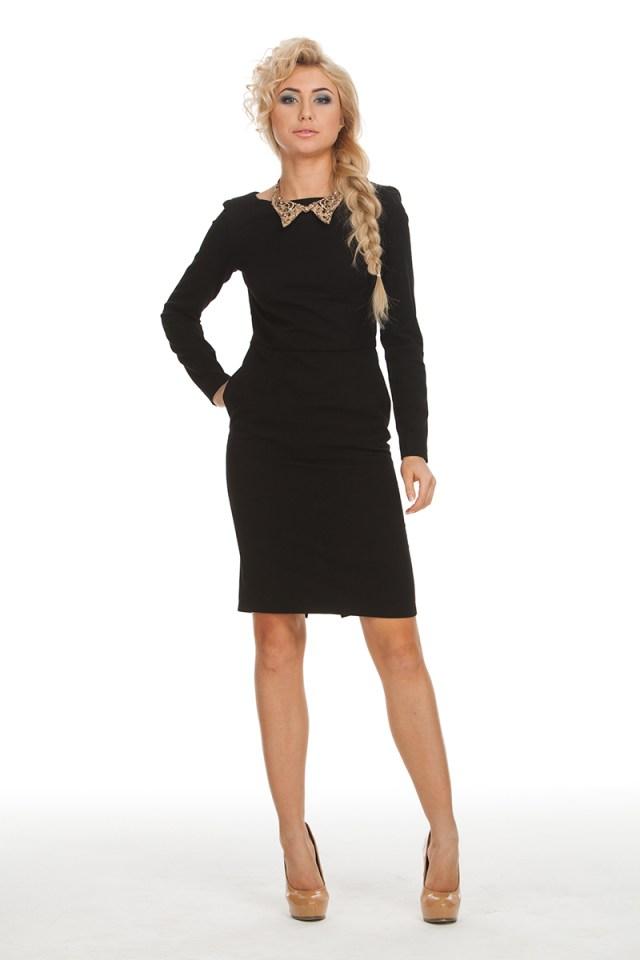 Фото модного черного платья футляр