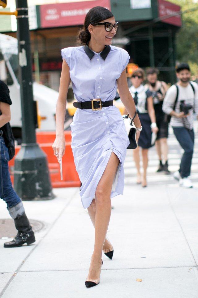 На фото: платье рубашка - новые модели и сочетания