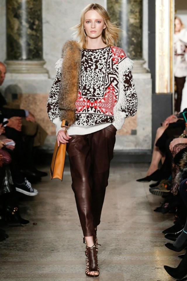 Модная кофта 2015 с геометрическим узором в сочетании с кожаными брюками – фото новинка от Emilio Pucci