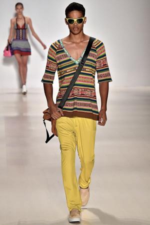 Модные мужские желтые брюки с кофтой с геометрическим принтом – Custo Barcelona