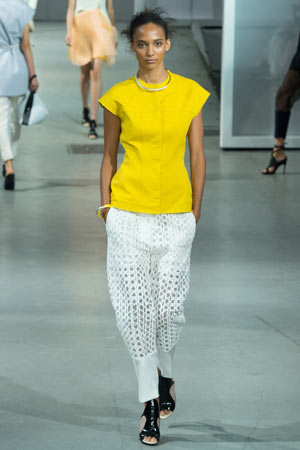 Белые модные брюки весна лето 2015 с имитацией сетки – Phillip Lim