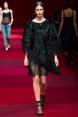 Пончо из каракуля от Dolce & Gabbana мода весна лето 2015