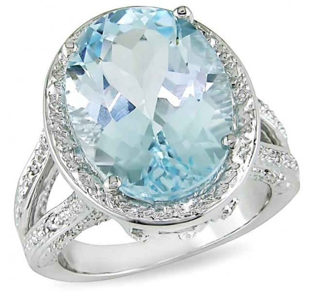 Кольцо в голубым топазом