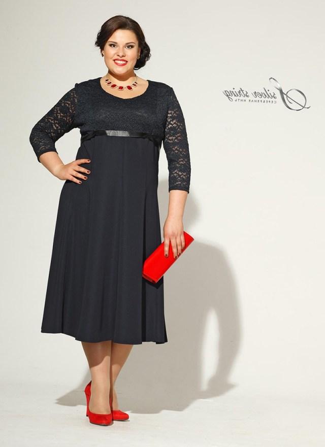 Черное кружевное платье для полных женщин