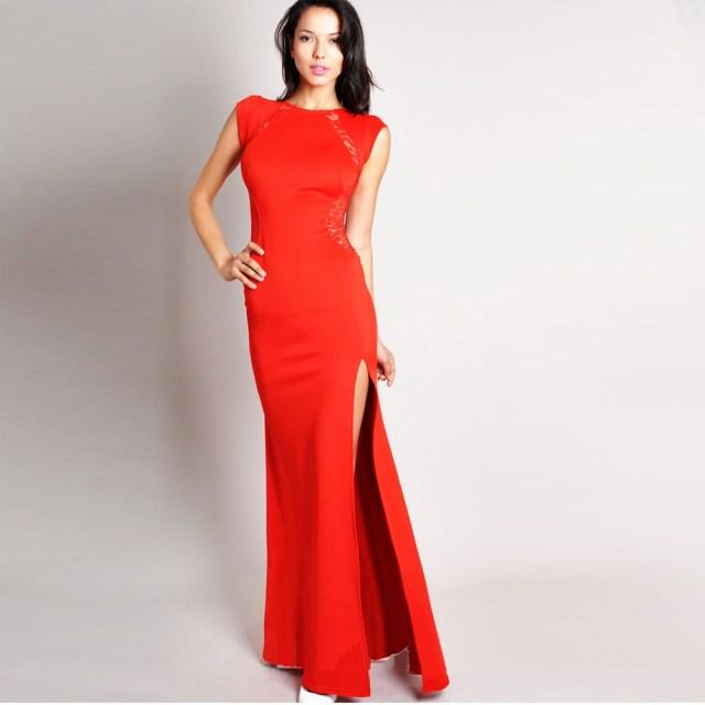 Модное длинное красное платье