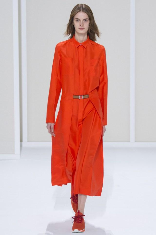 Длинный модный плащ 2016 кораллового цвета – Hermès