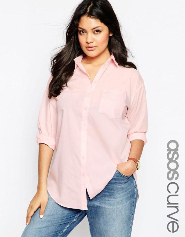 Мода для полных 2016: джинсы и рубашка больших размеров ASOS CURVE, цена 2 941,17 руб.
