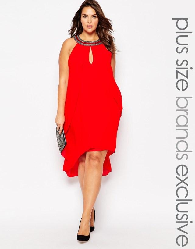 Мода для полных женщин 2016: красное платье больших размеров Lovedrobe Waterfall