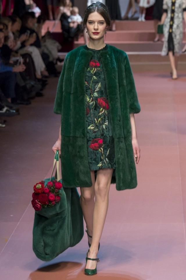 Зеленая модная шуба 2016 года – фото новинки от Dolce & Gabbana