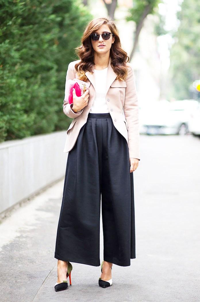 Модные брюки кюлоты с пиджаком