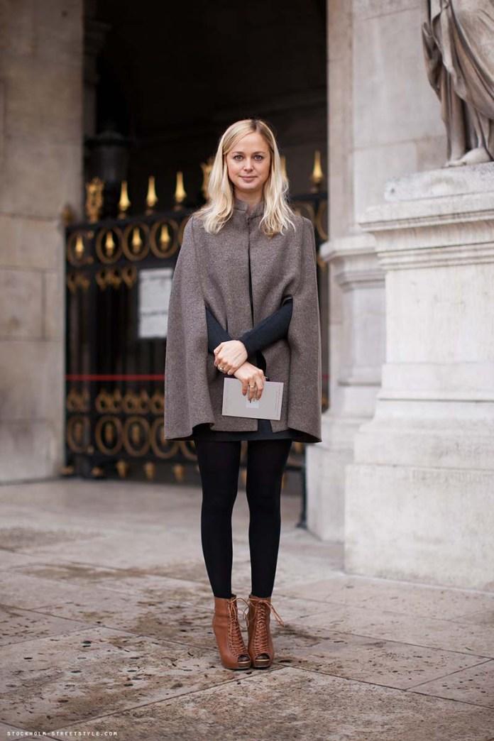 Фото новинка сезона: модное пальто накидка с брюками