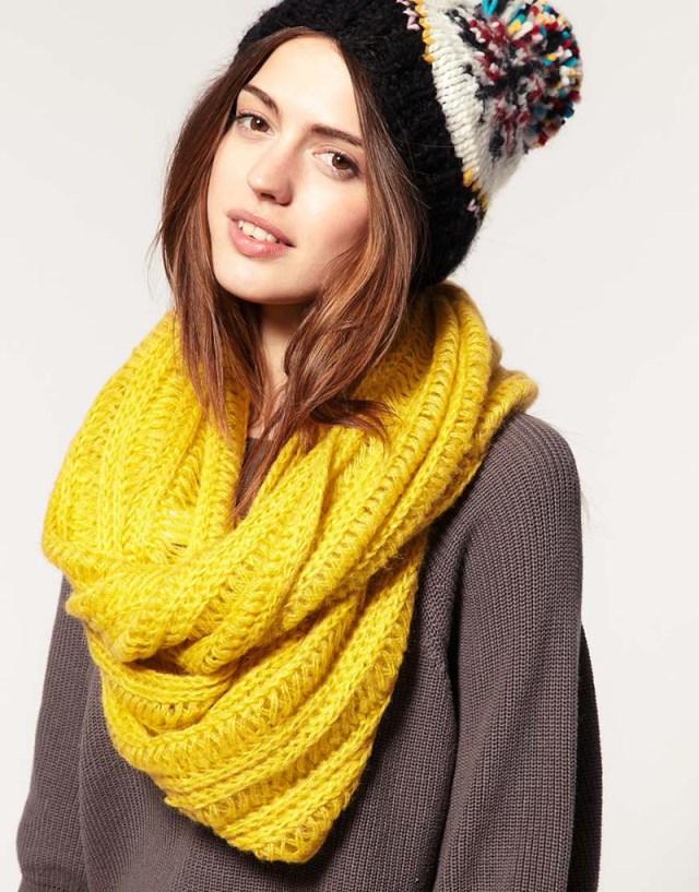 Яркий желтый шарф снуд 2016